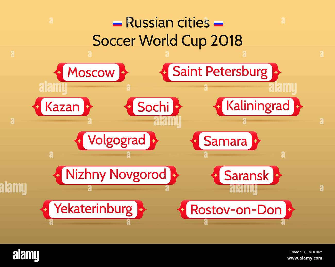 Football championship 2018 in Russian cities  Vector badges
