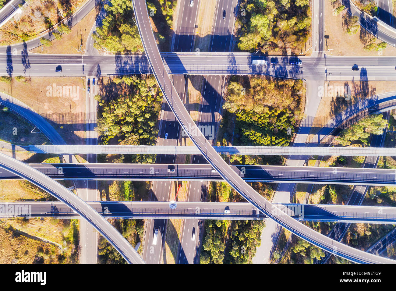 Elevated aerial top down view over multi-lever intersection of two