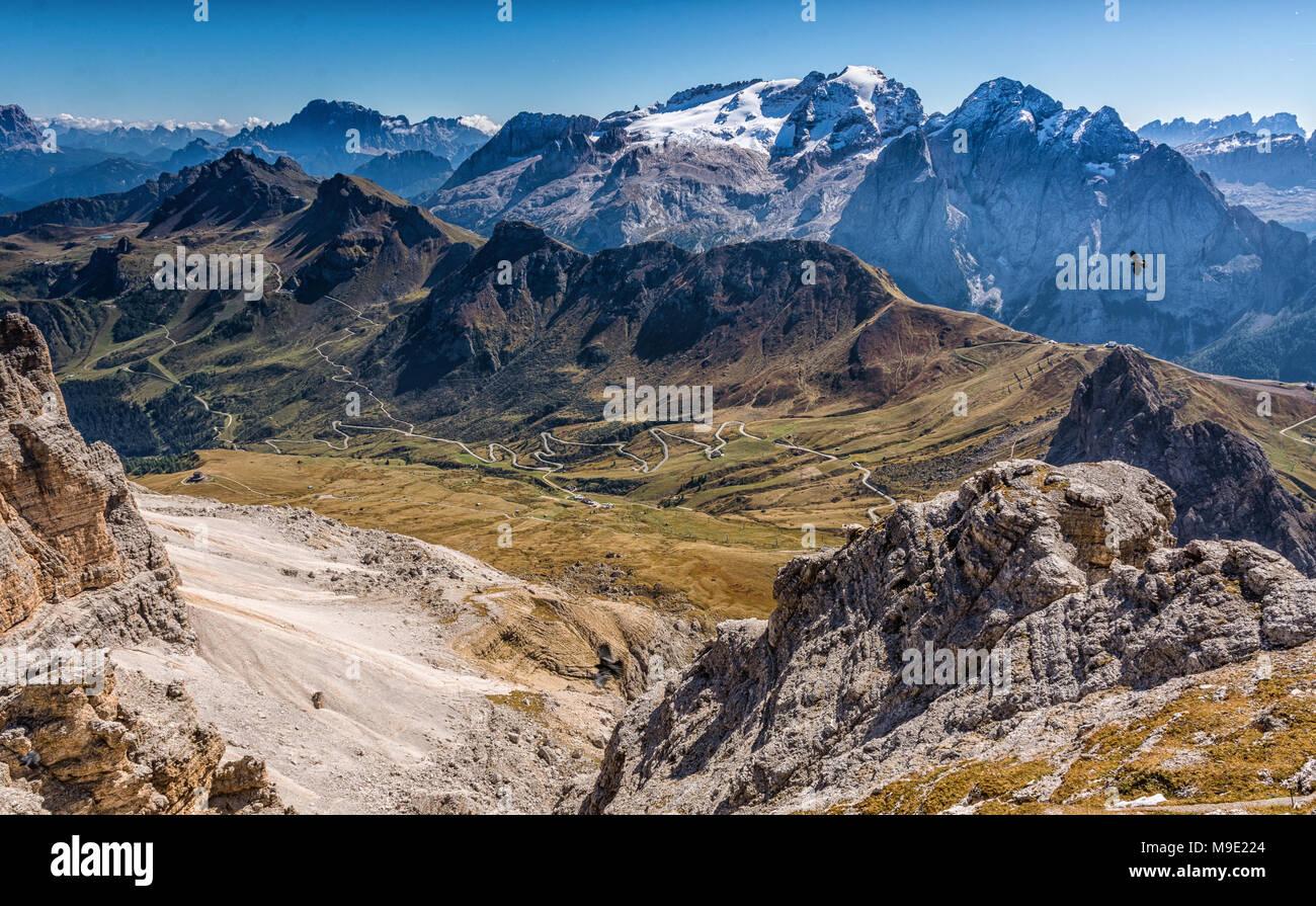 View towards Marmolada Glacier, Sass Pordoi Mountain, summit of Pordoi Pass, Sella Group, Dolomites, Trentino province, Italy - Stock Image