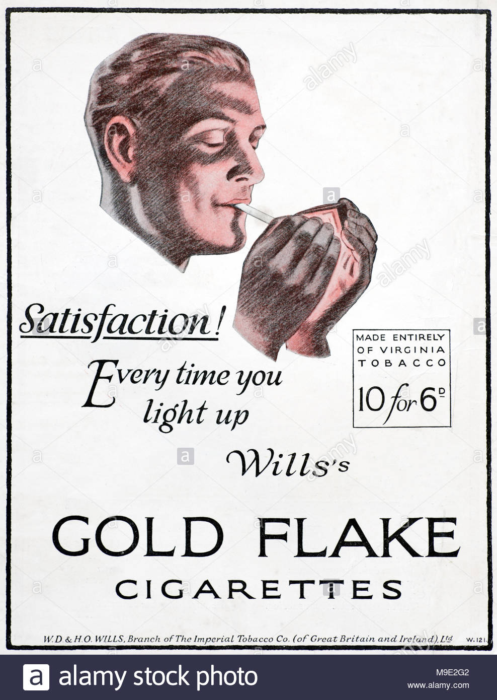 Vintage advertising for Will's Gold Flake Cigarettes 1925 - Stock Image