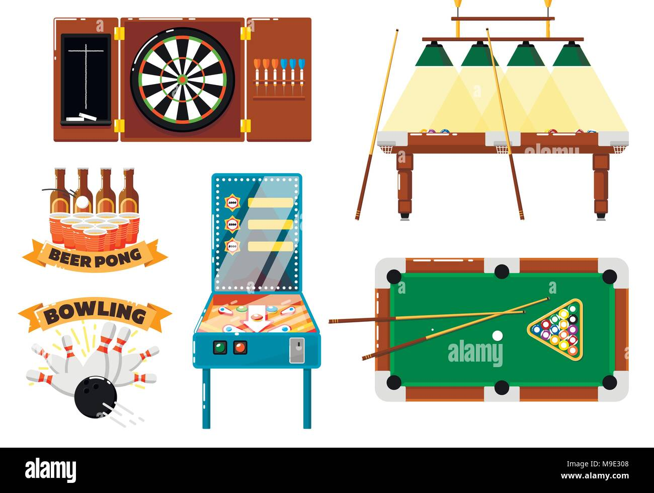 Active leisure and sports game set - Stock Vector