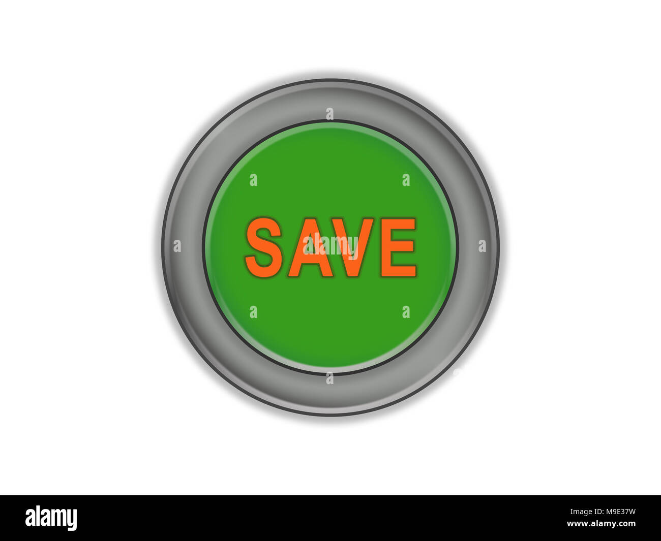 The green button with the volume and with the words SAVE, white background Stock Photo