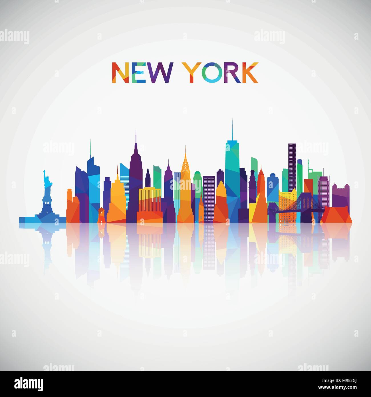 New York skyline silhouette in colorful geometric style. Symbol for your design. Vector illustration. - Stock Vector