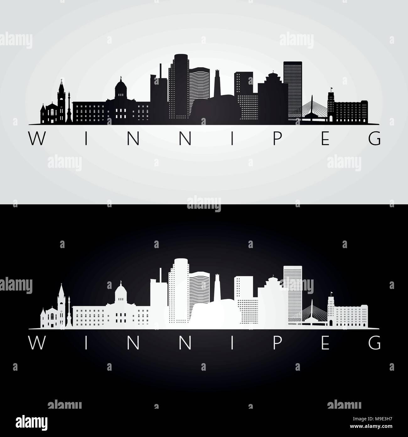 Winnipeg Skyline Silhouette Metal License Plate