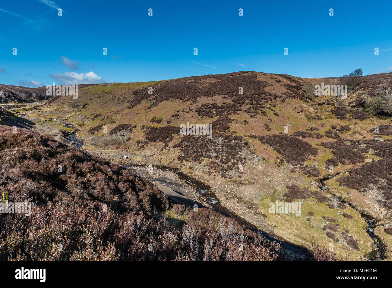 North Pennines landscape, the remains of the closed abandoned Sharnberry lead mine, Teesdale, UK - Stock Image