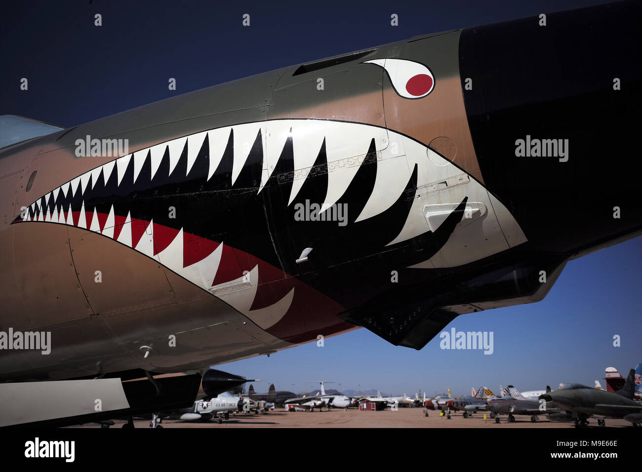 Sharkteeth on a warplane at the Pima Air Museum - Stock Image