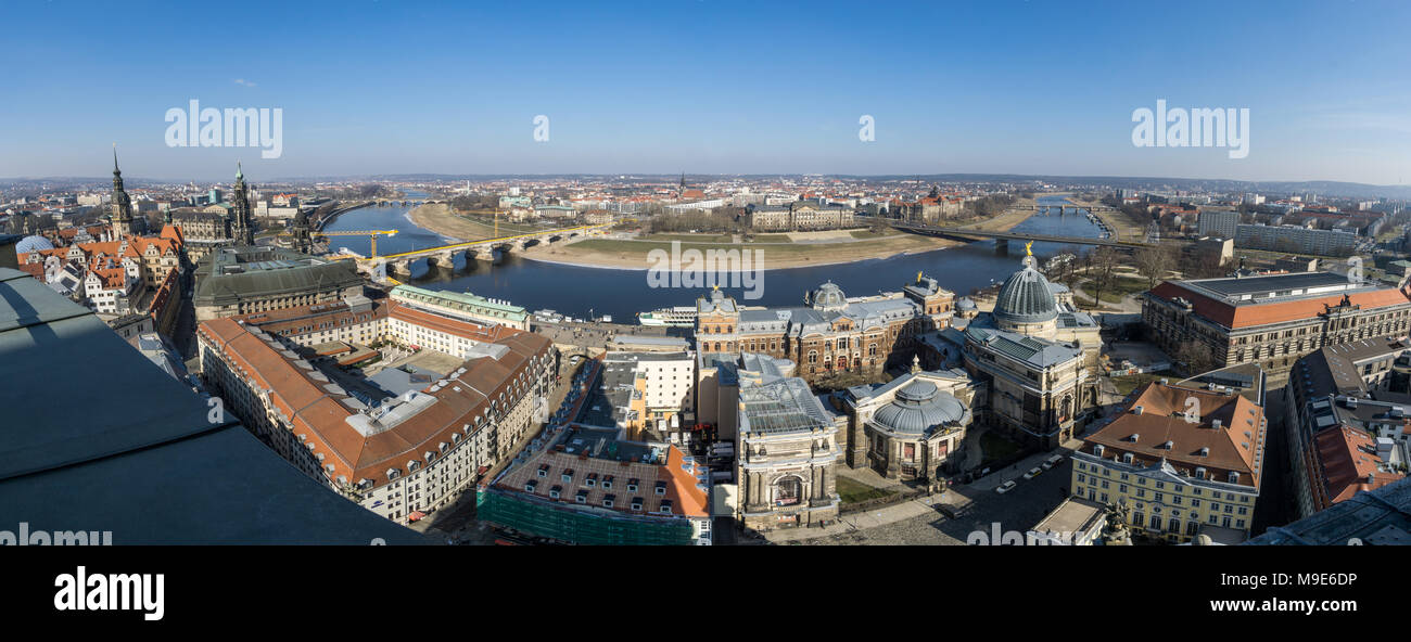Beautiful super wide-angle sunny aerial view of Dresden. - Stock Image