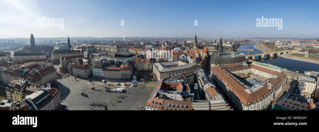 Beautiful super wide-angle sunny aerial view of Dresden. Stock Photo