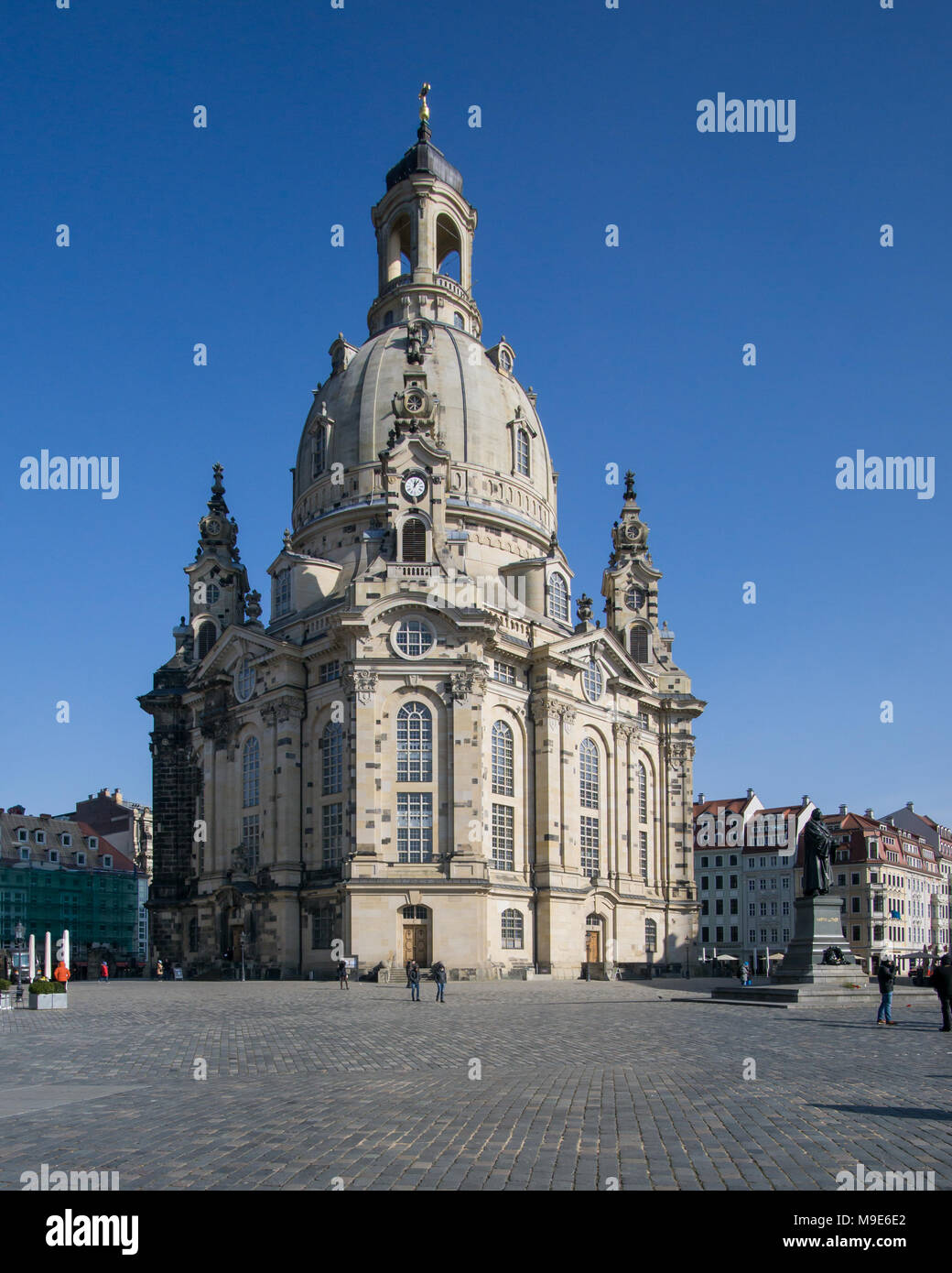 Frauenkirche Dresden on a sunny day with blue sky, Germany. Stock Photo