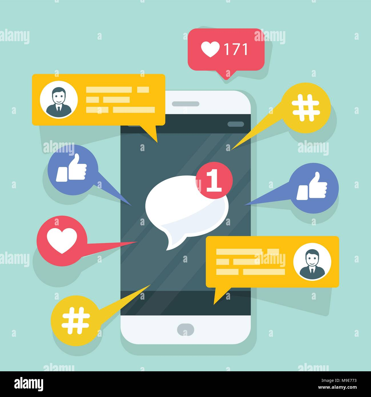 Viral content, smm and social activity - likes, shares and comments popping up on the mobile screen - Stock Image