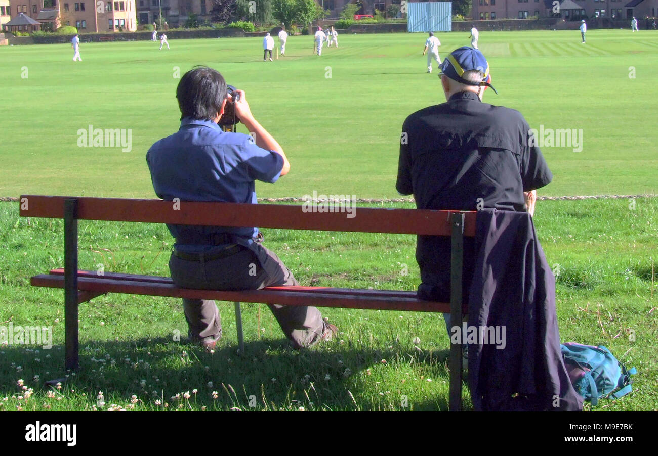 spectators w.s.c.c rowan cup final West of Scotland   verses  Clydesdale cricket club 23 july 2010 cricket match  Hamilton Crescent,  Partick - Stock Image