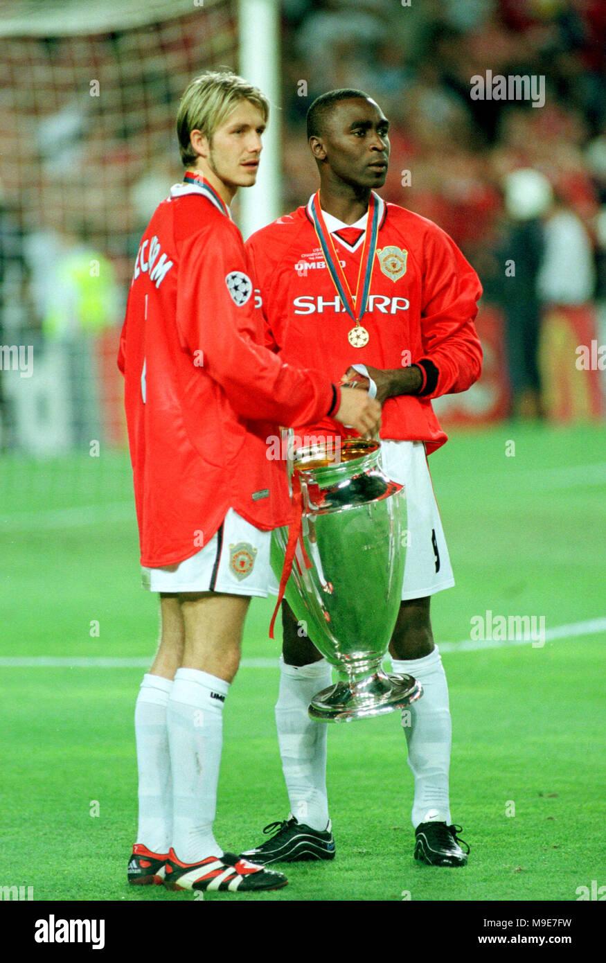 Stadium Camp Nou Barcelona Spain 2651999 UEFA Champions League Final Manchester United Vs FC Bayern Munich 21 David Beckham And Andy Cole All