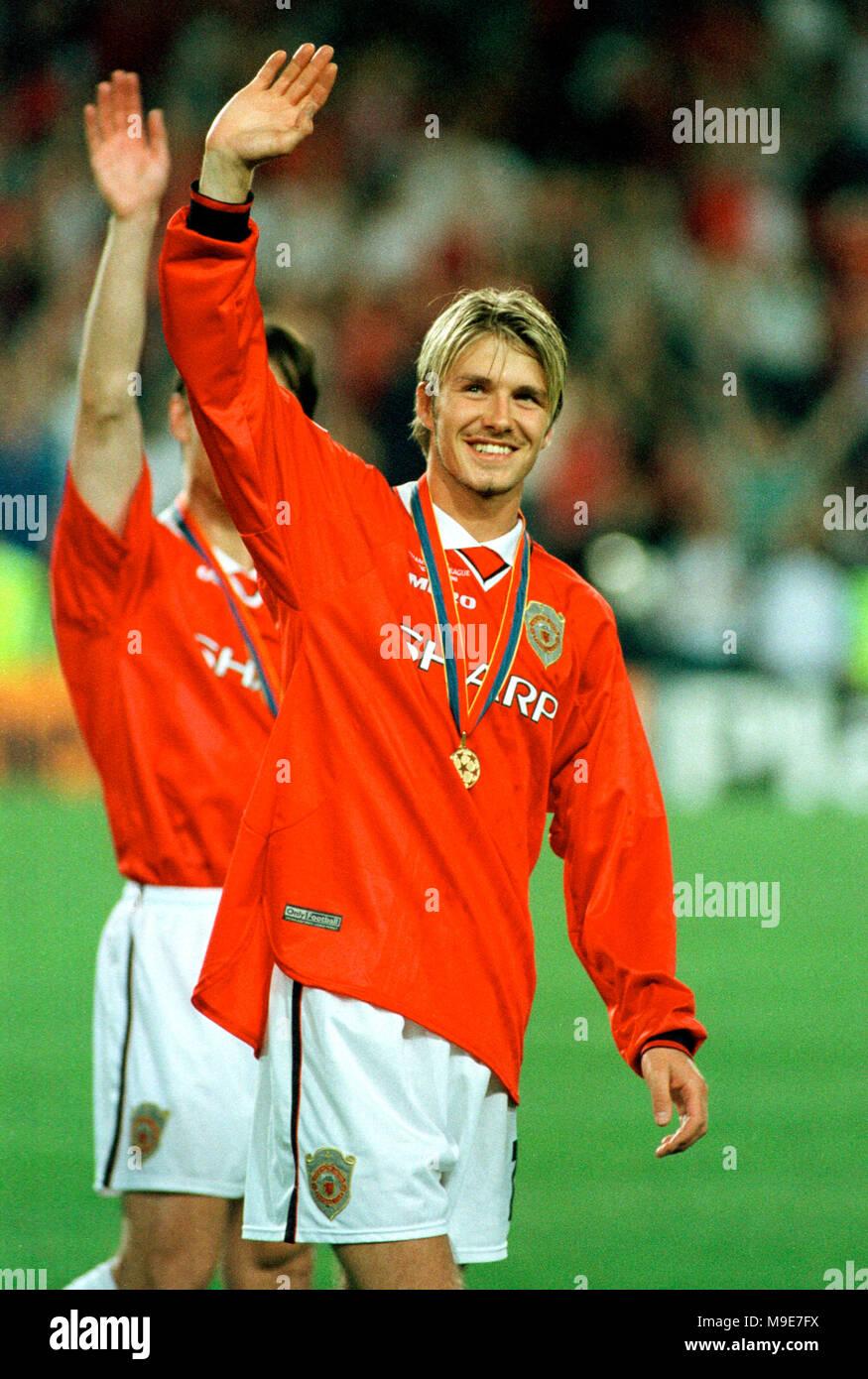 Stadium Camp Nou Barcelona Spain 2651999 UEFA Champions League Final Manchester United Vs FC Bayern Munich 21 David Beckham ManU With Medal