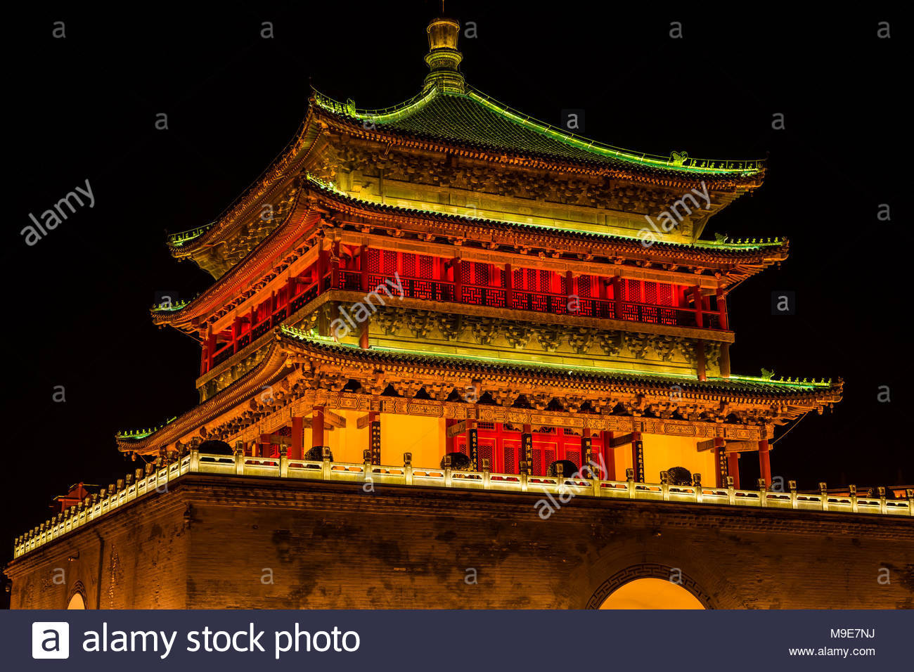 The Bell Tower, built in 1384 during the early Ming Dynasty, is a symbol of the city of Xi'an and one of the grandest of its kind in China. The Bell T - Stock Image
