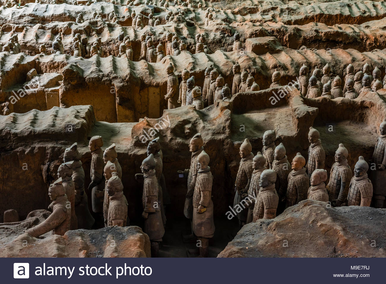 Pit 1, the excavation site of the Terracotta Army of Emperor Qin Shi Huang, the first emperor of China. The Army was buried with the Emperor in about - Stock Image
