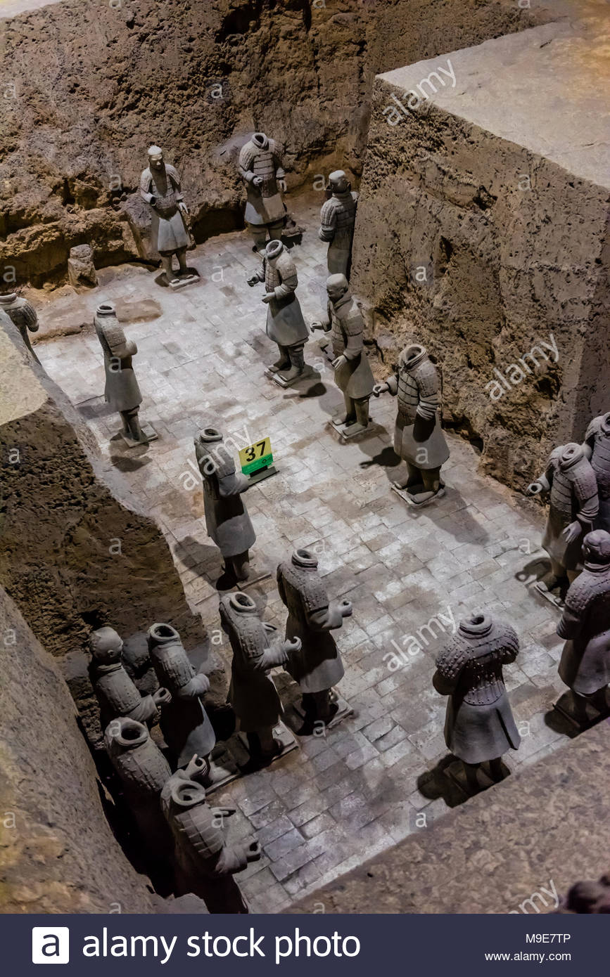 Vault 3 Excavation pits where work is still ongoing at the Terracotta Army of Emperor Qin Shi Huang, the first emperor of China. The Army was buried w - Stock Image