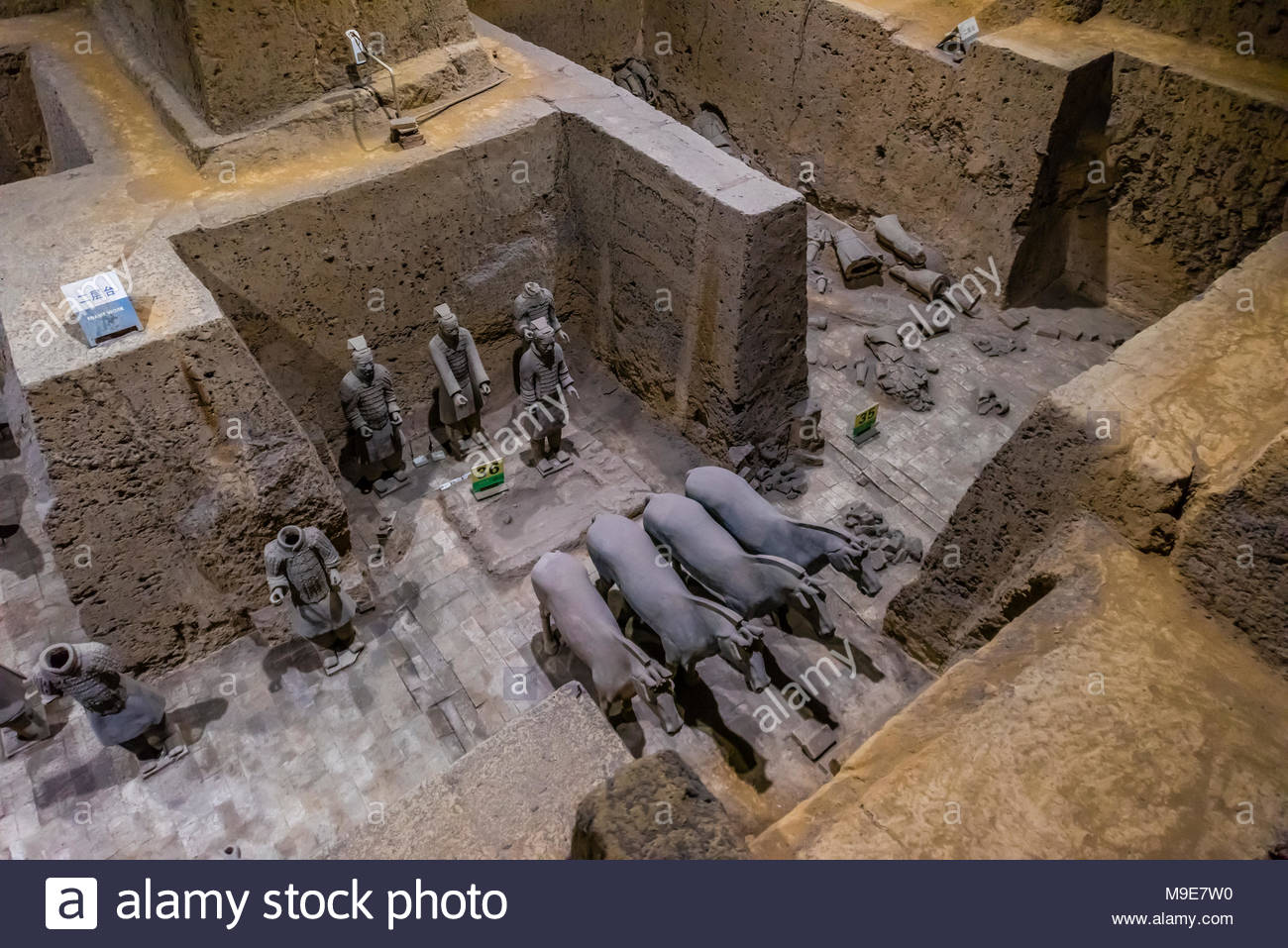 Vault 3 Excavation pits where work is still ongoing at the Terracotta Army of Emperor Qin Shi Huang, the first emperor of China. The Army was buried w Stock Photo