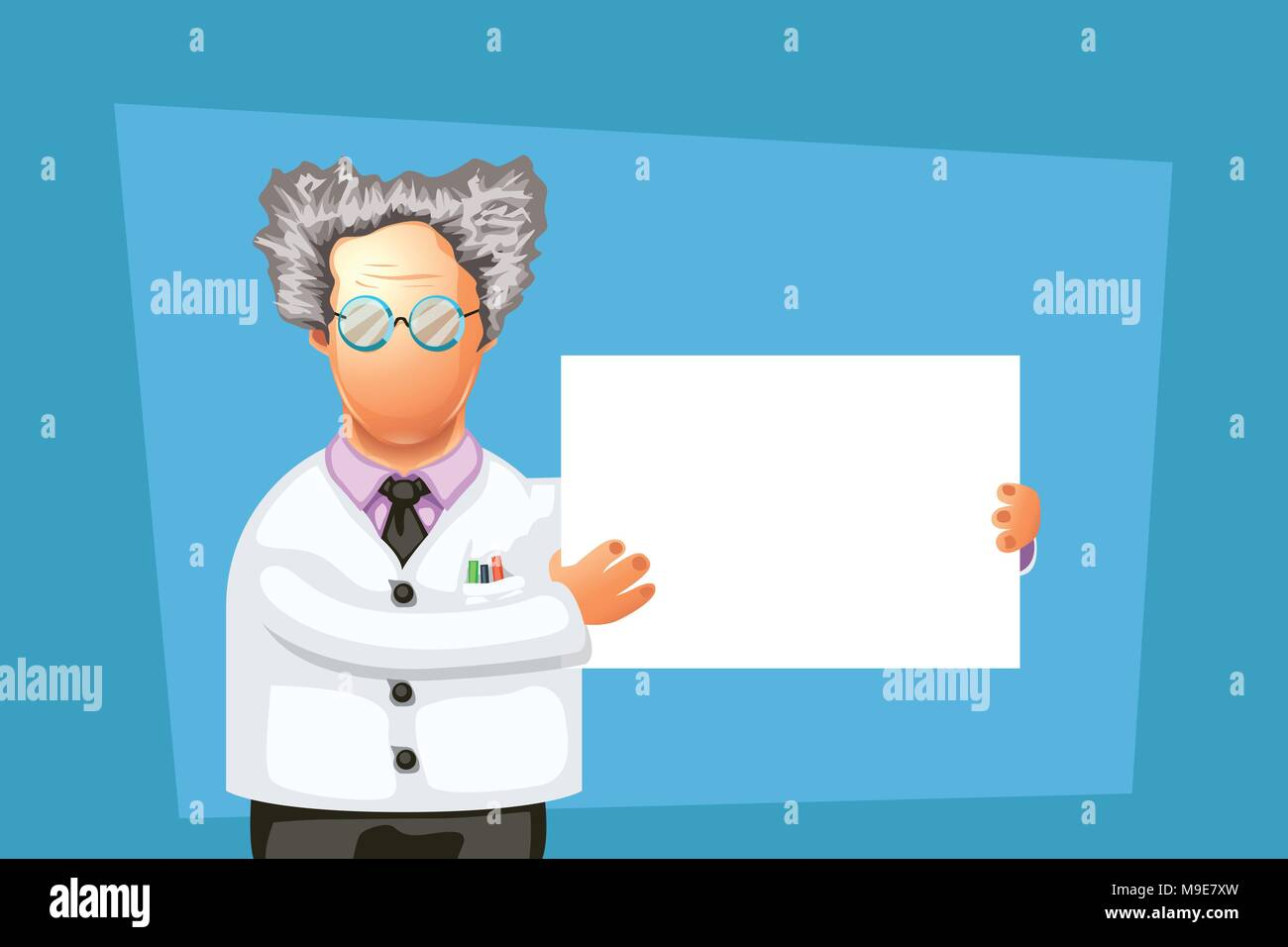 crazy scientist with board - Stock Vector