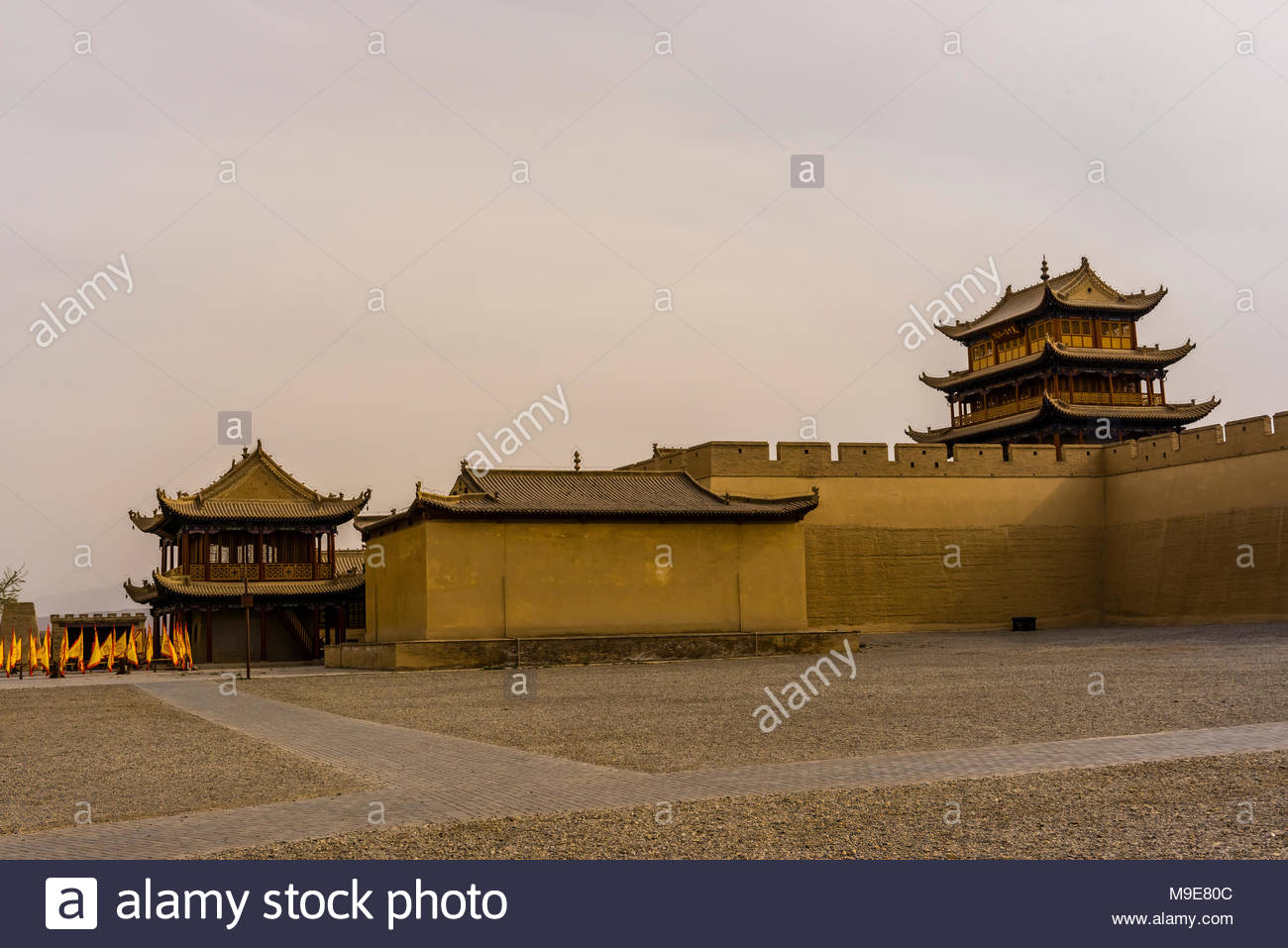 Jiayuguan Fort is the western end of the Great Wall built in the Ming Dynasty (1368 – 1644). It was an important military fortress and  key waypoint o Stock Photo