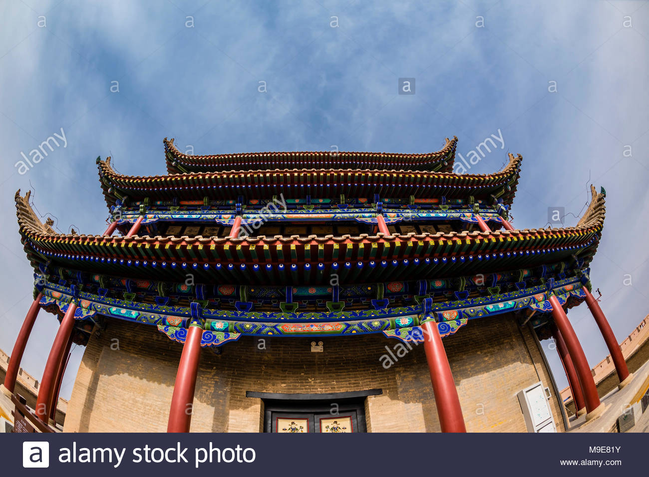 Guanghua Tower (East Tower). Jiayuguan Fort is the western end of the Great Wall built in the Ming Dynasty (1368 – 1644). It was an important military - Stock Image