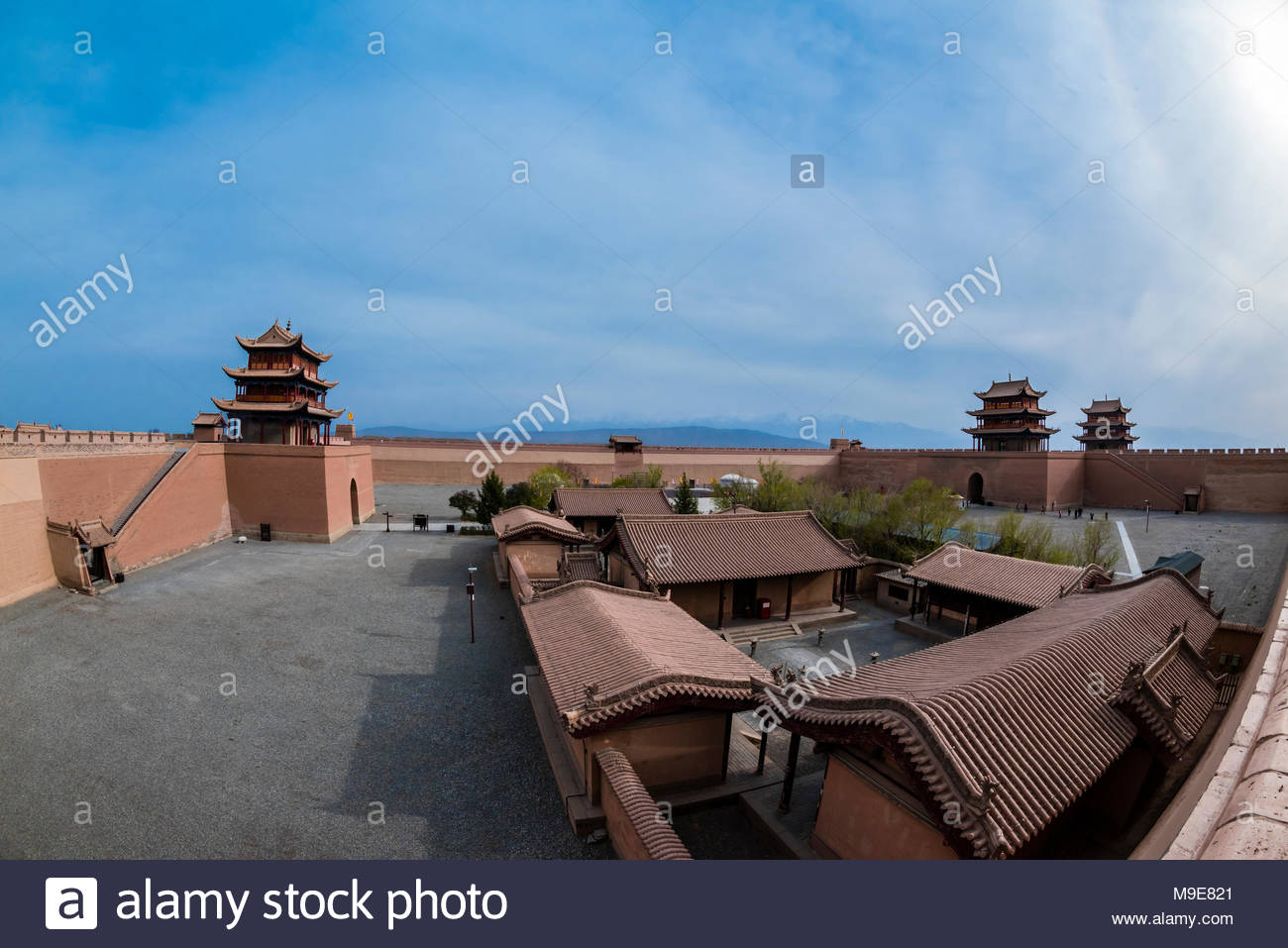 Jiayuguan Fort is the western end of the Great Wall built in the Ming Dynasty (1368 – 1644). It was an important military fortress and  key waypoint o - Stock Image