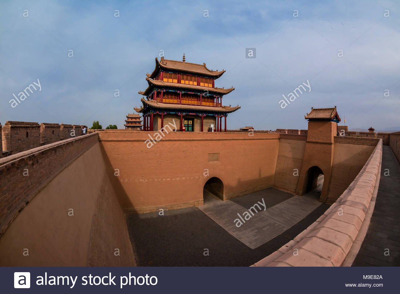 Rouyuan Tower (West Tower). Jiayuguan Fort is the western end of the Great Wall built in the Ming Dynasty (1368 – 1644). It was an important military - Stock Image