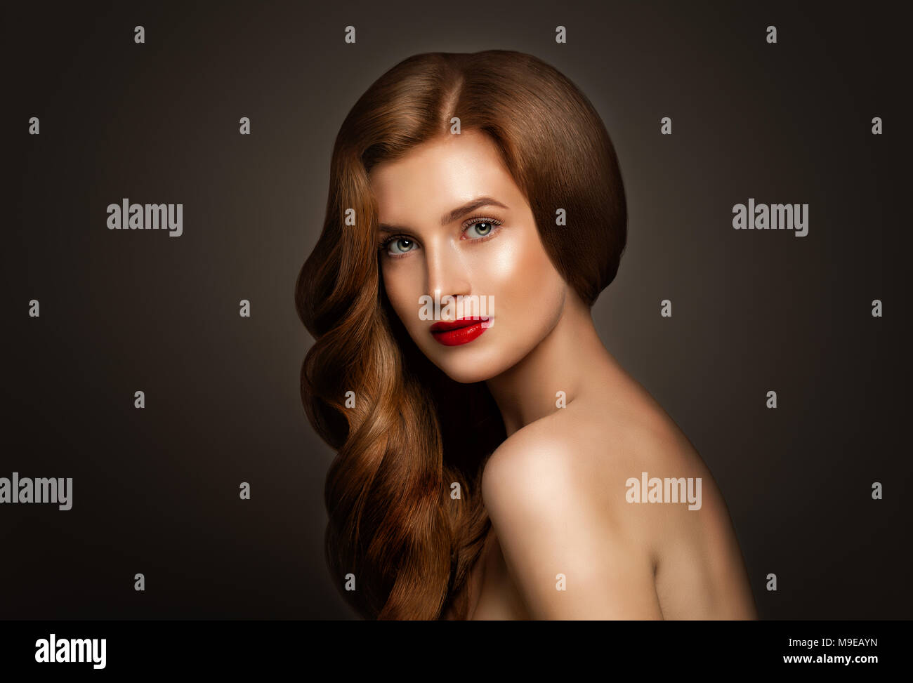Glamorous Redhead Woman With Perfect Red Wavy Hair On Banner Background With Copy Space Stock Photo Alamy