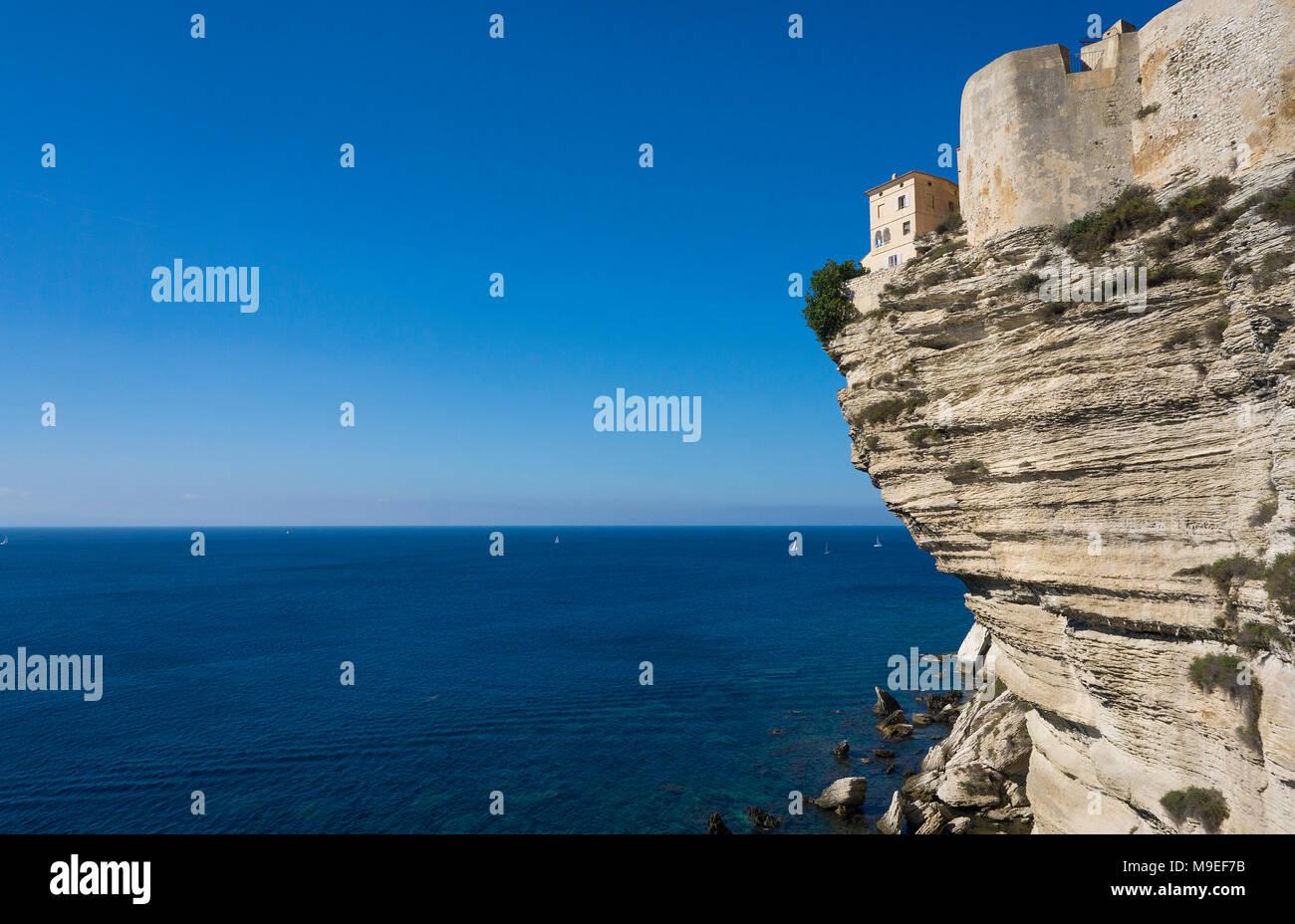 Citadel of Bonifacio, built on chalkstone cliff, Strait of Bonifacio, Corsica, France, Mediterranean, Europe - Stock Image