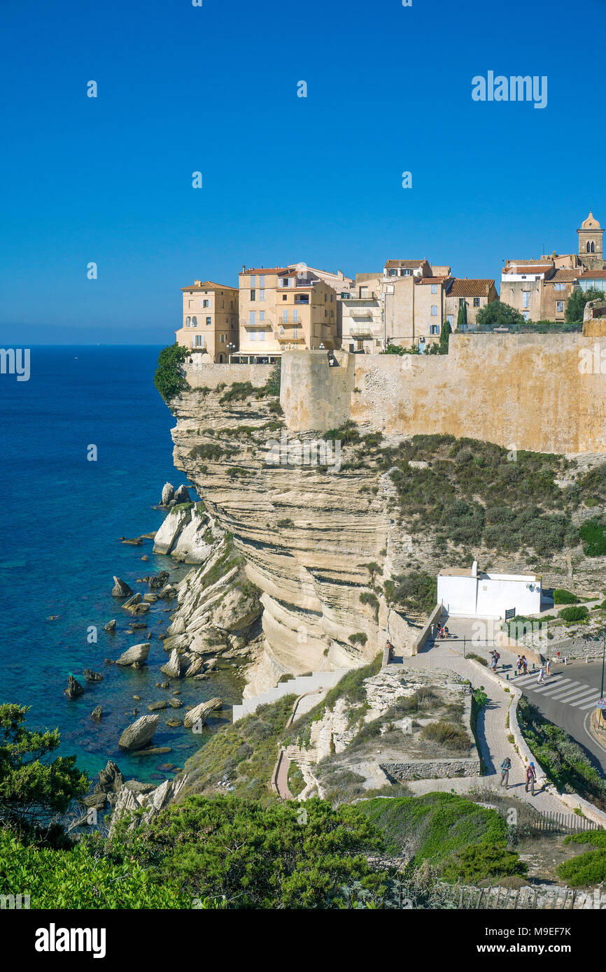 Citadel and upper town of Bonifacio, built on a chalkstone cliff, Corsica, France, Mediterranean, Europe - Stock Image