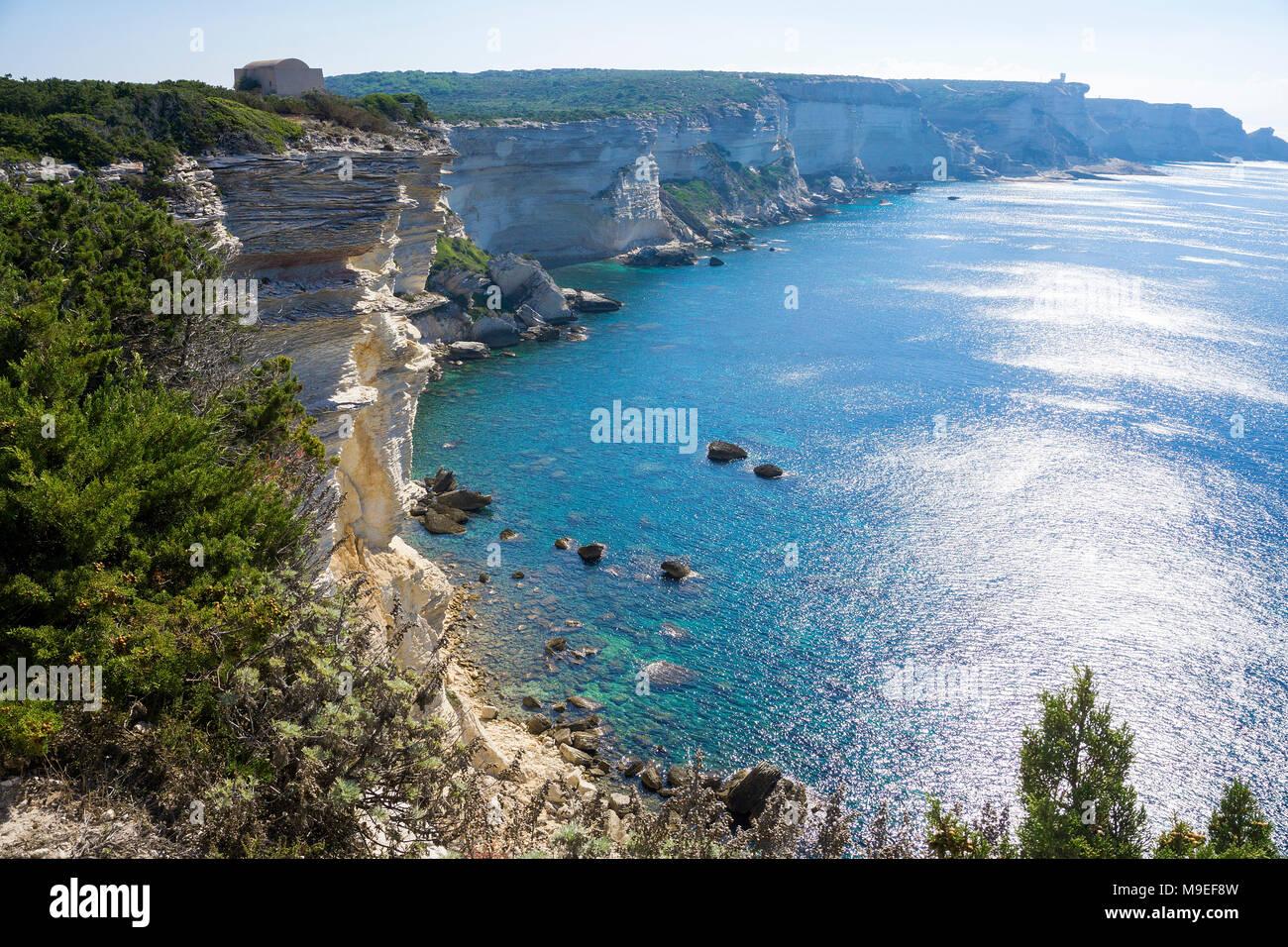 The chalkstone cliff at Bonifacio, Corsica, France, Mediterranean, Europe - Stock Image