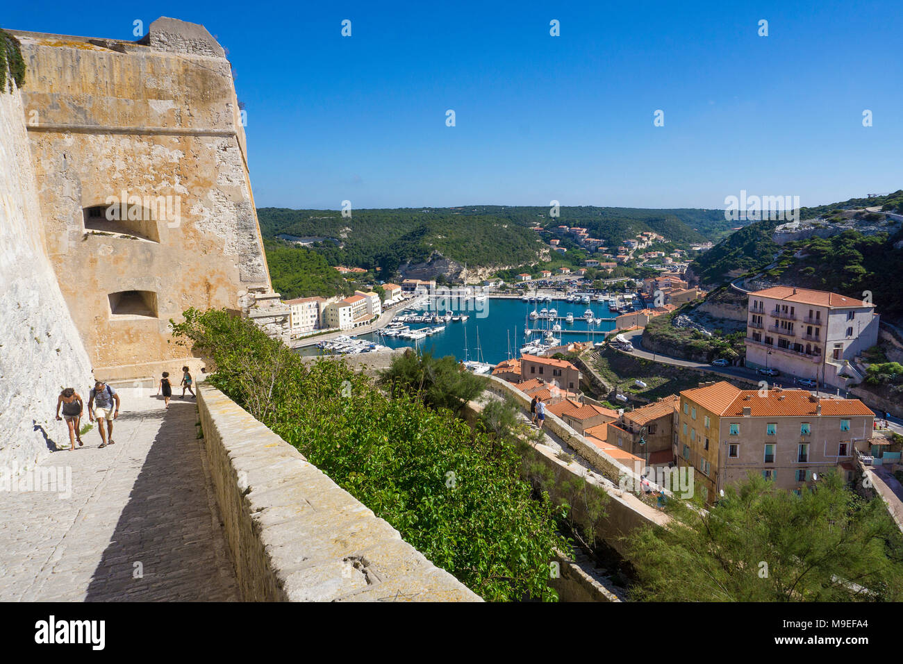 View from the citadel on harbour, Bonifacio, Corsica, France, Mediterranean, Europe - Stock Image