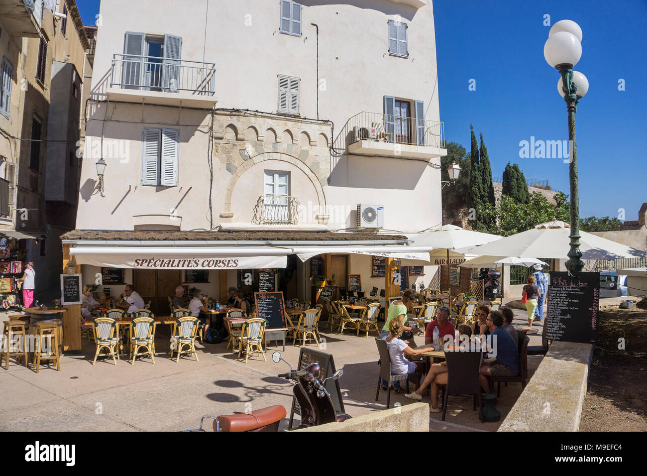 Restaurant at upper town, old town of Bonifacio, Corsica, France, Mediterranean, Europe - Stock Image