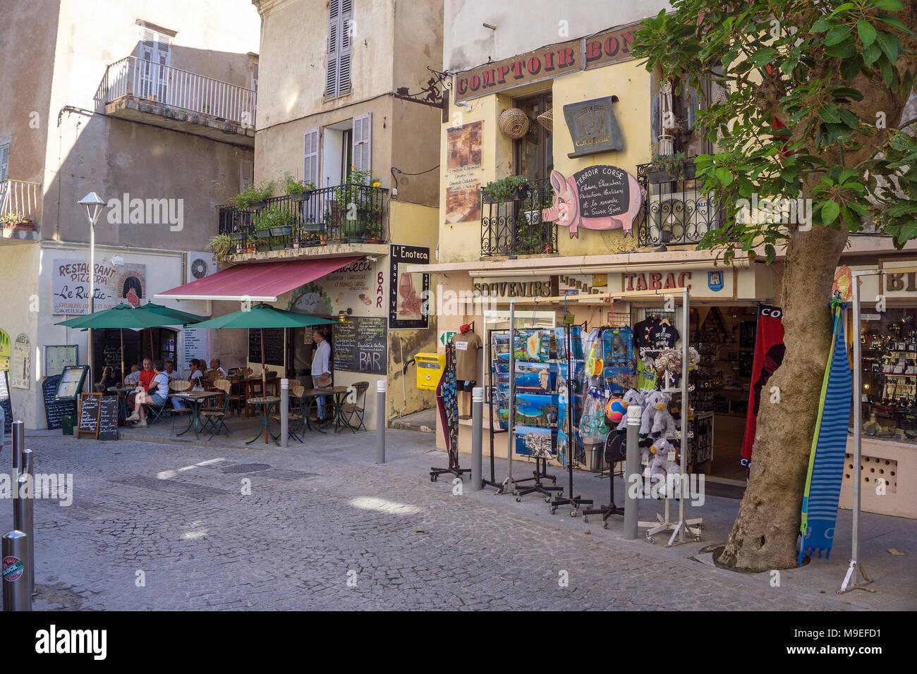 Souvenir shop and bar at old town of Bonifacio, Corsica, France, Mediterranean, Europe Stock Photo