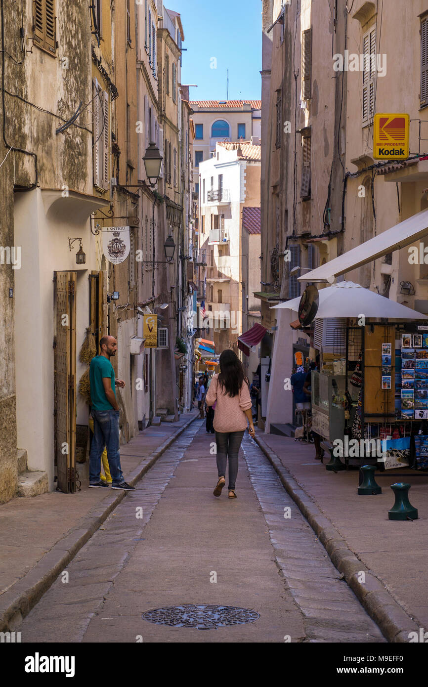 Shops at old town of Bonifacio, Corsica, France, Mediterranean, Europe - Stock Image