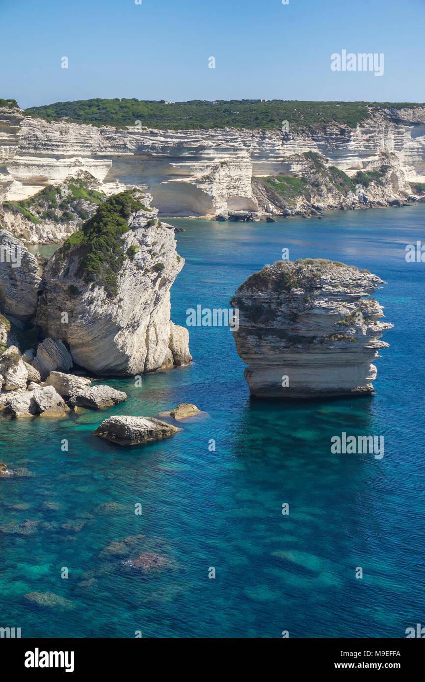 Limestone spires at chalkstone cliff, Bonifacio, Corsica, France, Mediterranean, Europe - Stock Image
