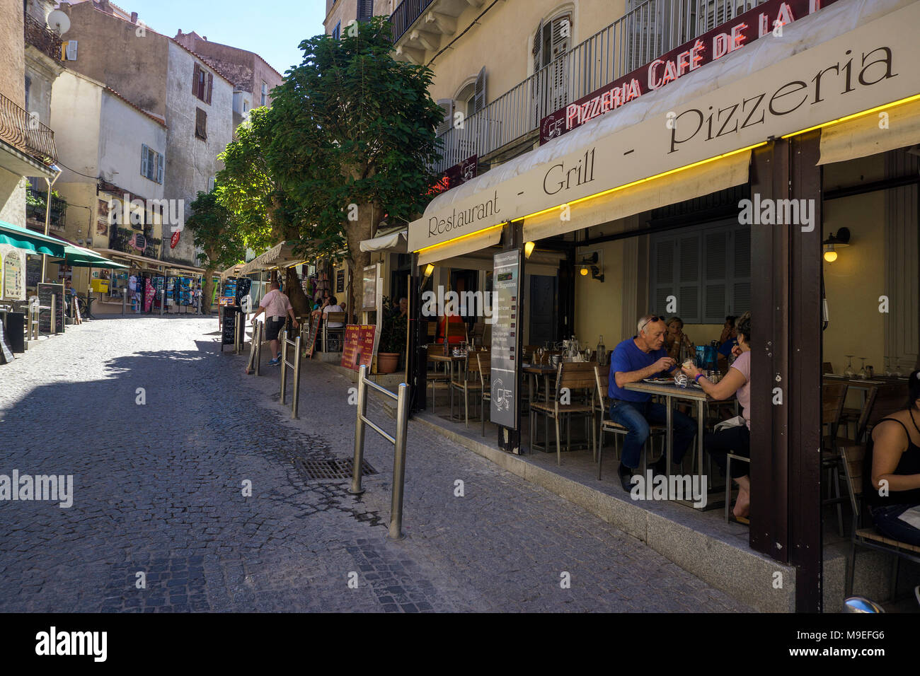 Bar and restaurant at old town of Bonifacio, Corsica, France, Mediterranean, Europe - Stock Image