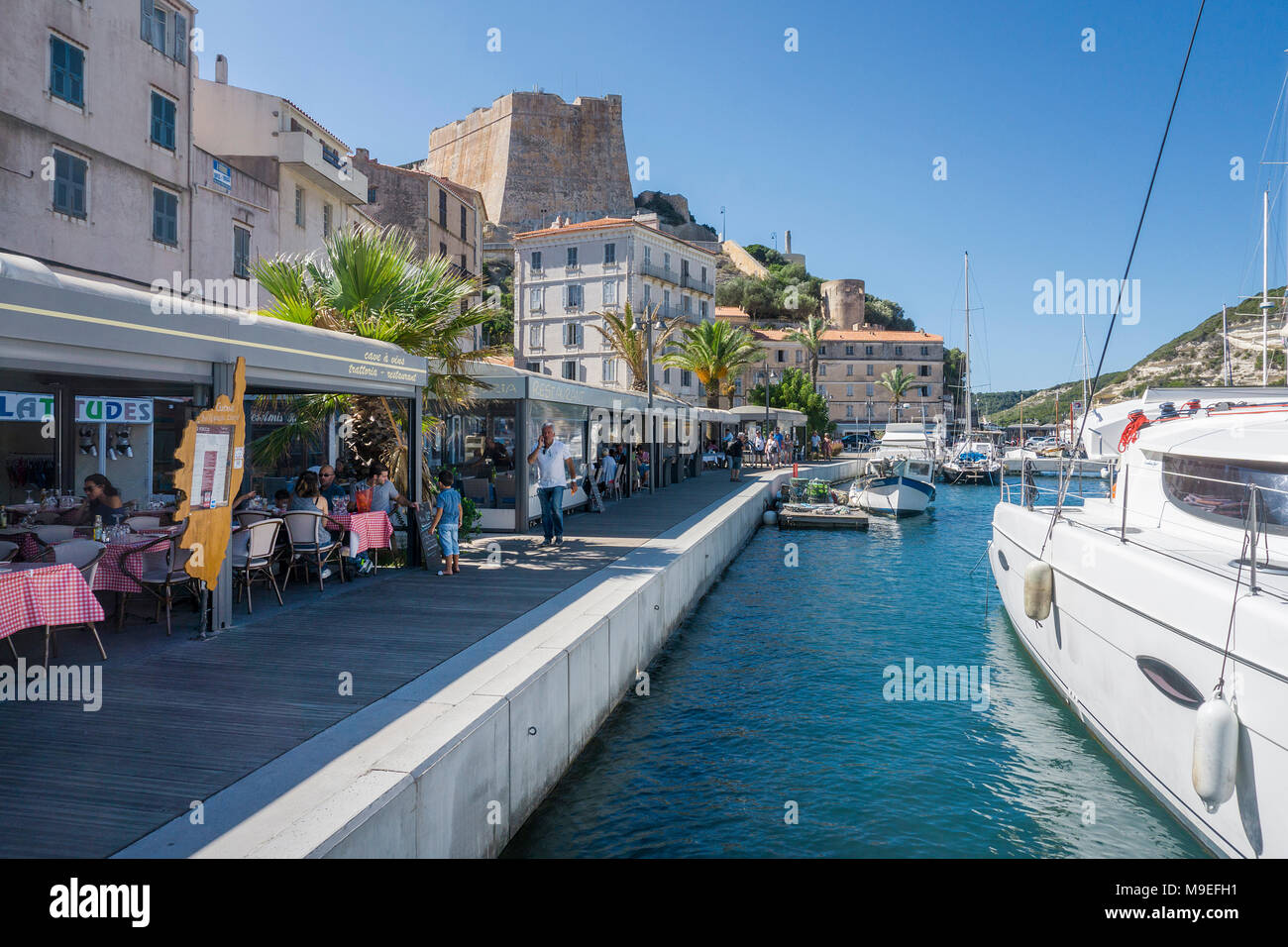 Fishery and Yacht harbour of Bonifacio, Corsica, France, Mediterranean, Europe - Stock Image