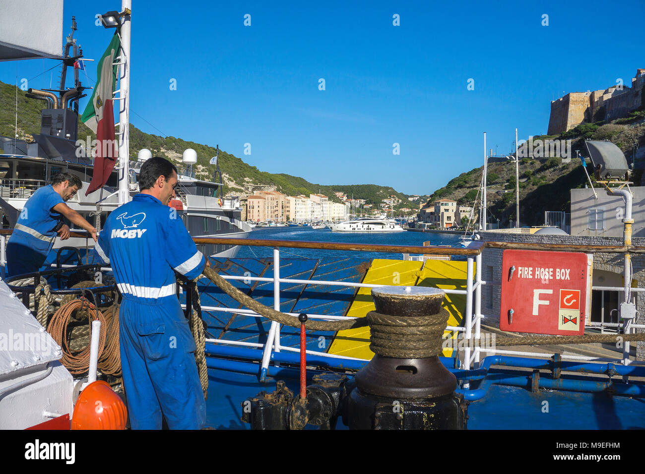Ferry at fishery and Yacht harbour of Bonifacio, Corsica, France, Mediterranean, Europe - Stock Image