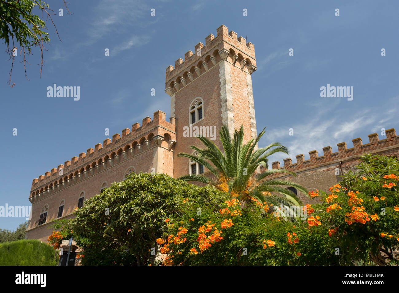 Part of Bolgheri castle Tuscany Italy. The area is noted for its wine production. Stock Photo