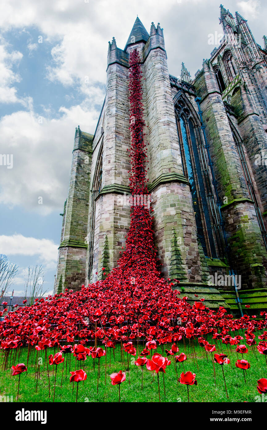 Hereford Cathedral Weeping Window - Stock Image