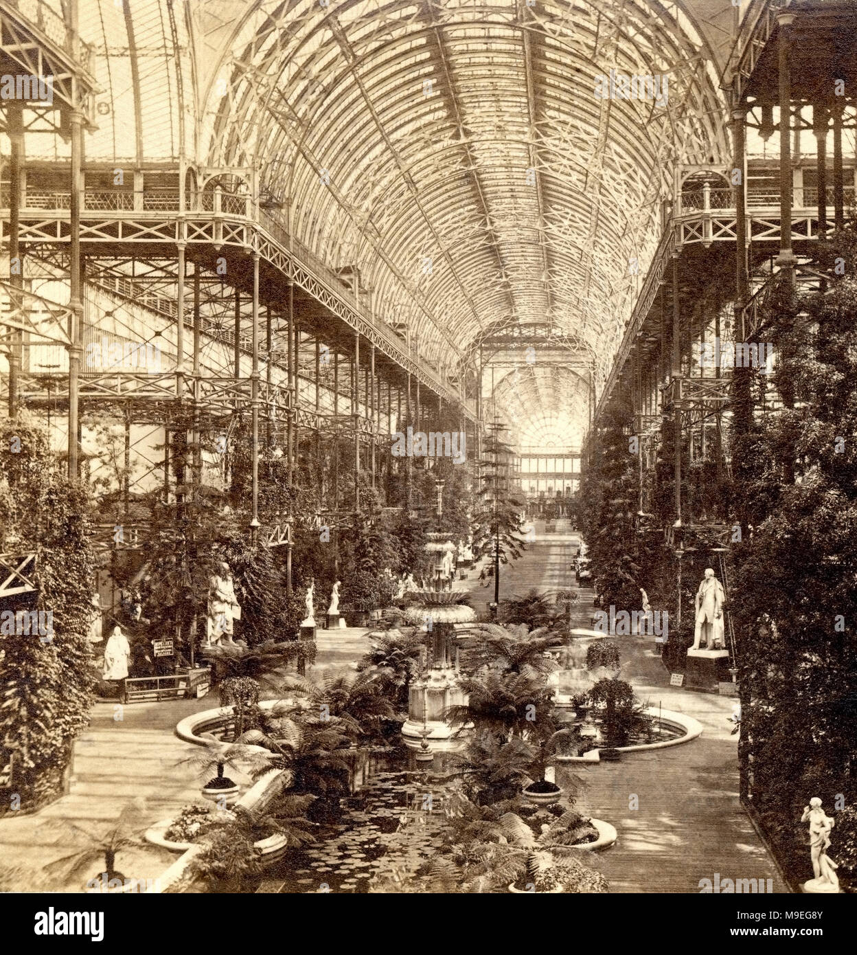 Interior of the Crystal Palace for the Great Exhibition in 1851. Hyde Park  London. Victorian engineering.