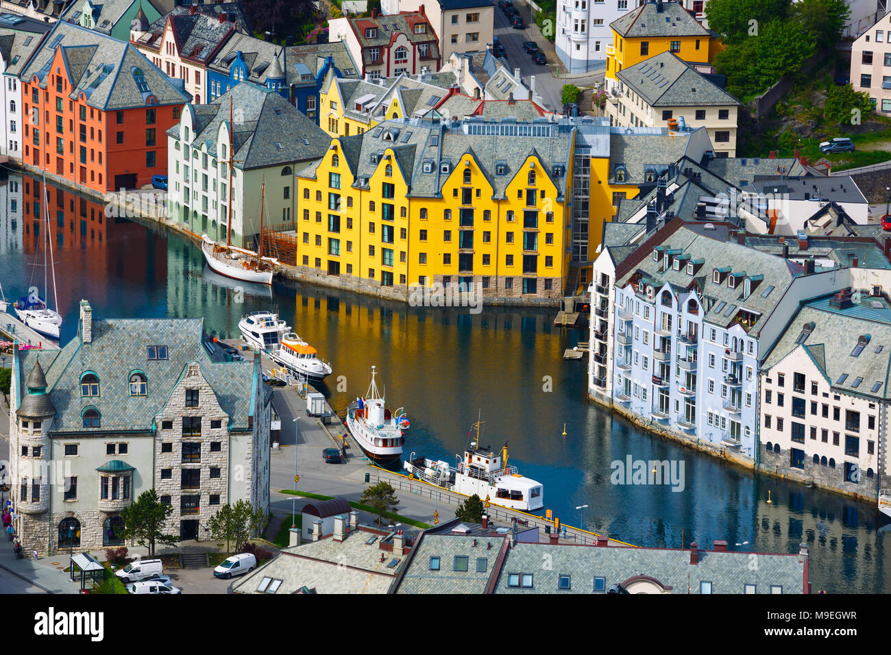 Aksla at the city of Alesund , Norway. It is a sea port, and is noted for its concentration of Art Nouveau architecture. - Stock Image