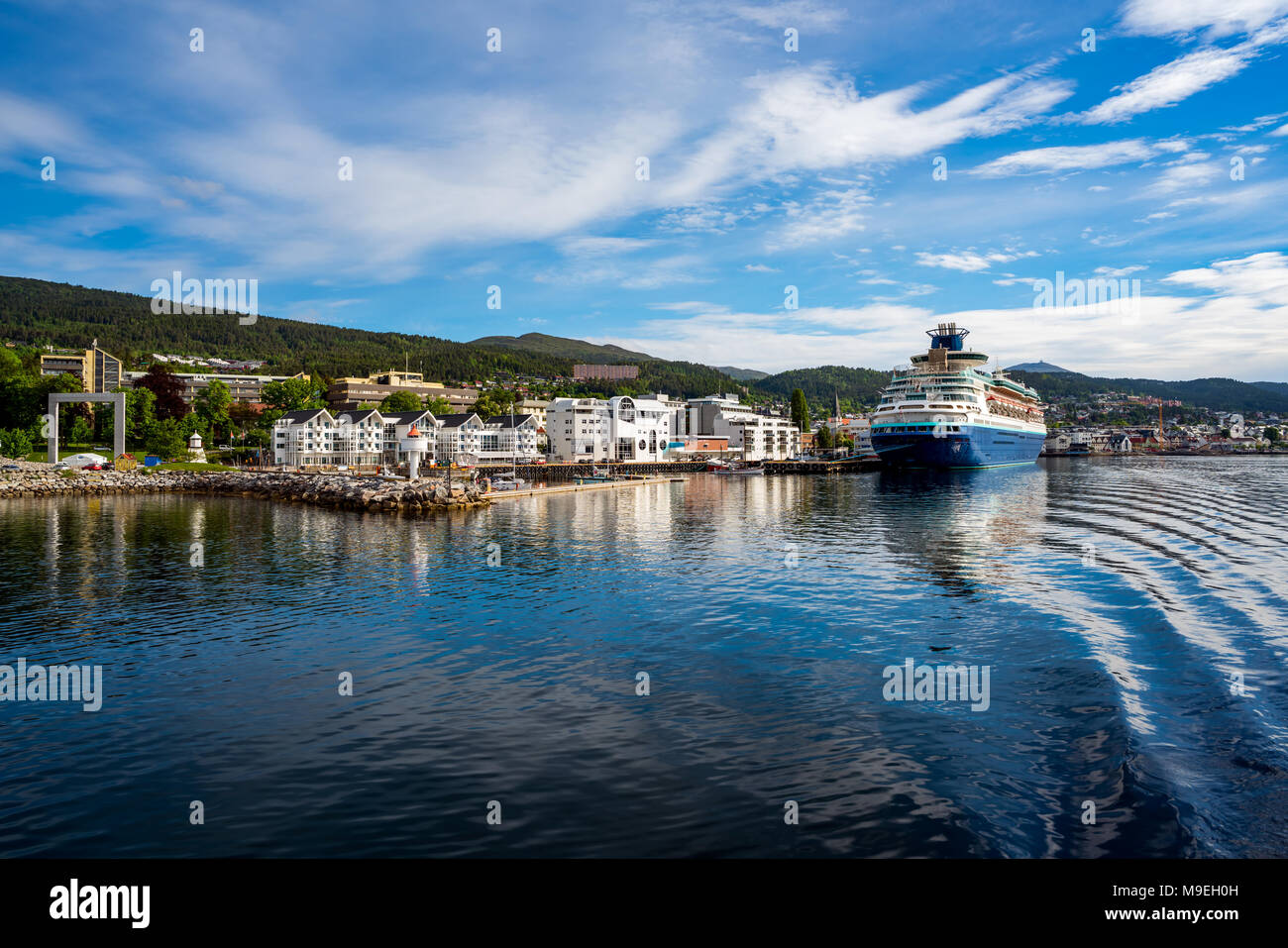 Molde in Romsdal, Norway. Molde has a maritime, temperate climate, with cool-to-warm summers, and relatively mild winters. The city is nicknamed The T - Stock Image