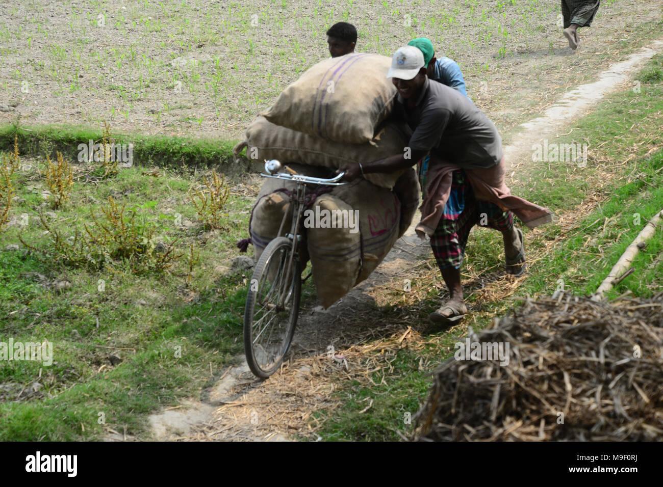 Dhaka, Bangladesh on March 24, 2018  Bangladeshi workers