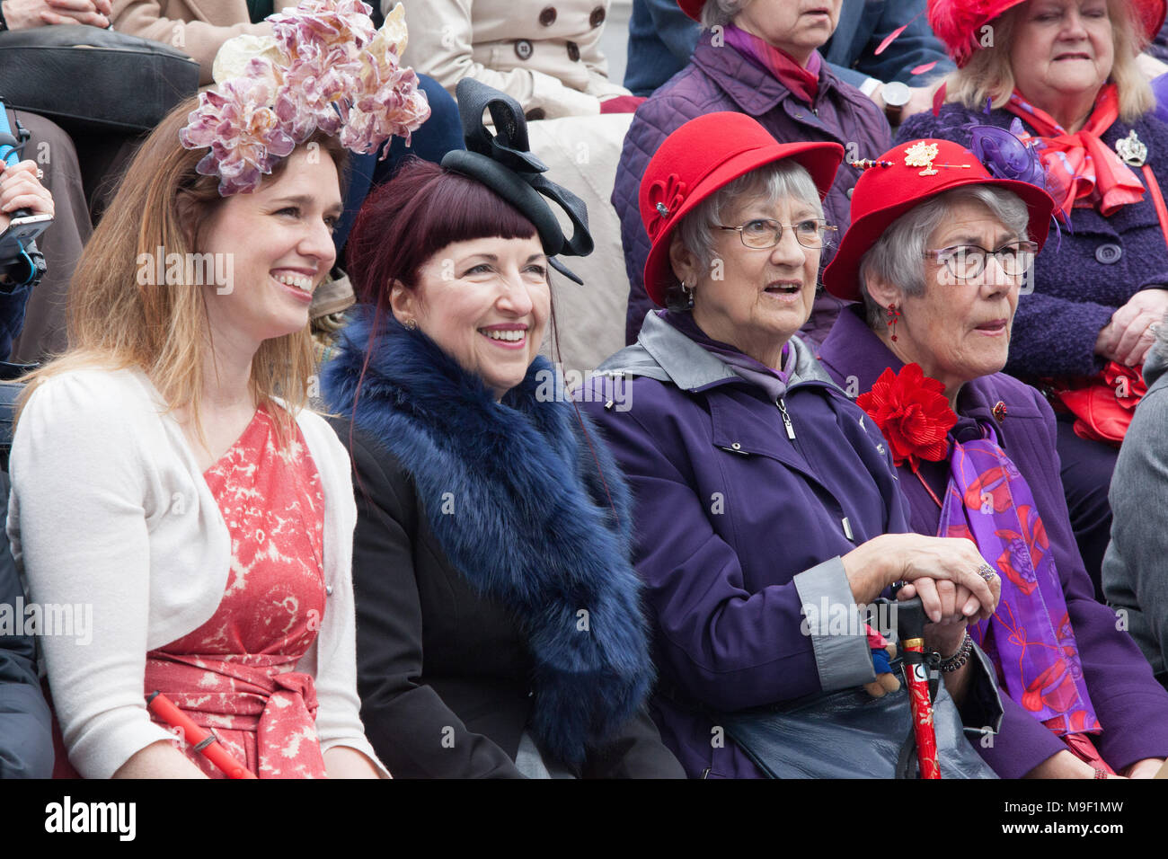 London, UK, 25 Mar 2018. Participants in the Hat Walk for London Hat Week, including many milliners who had made their own hats, walked along the South Bank from Tate Modern to City Hall. Credit: Anna Watson/Alamy Live News - Stock Image