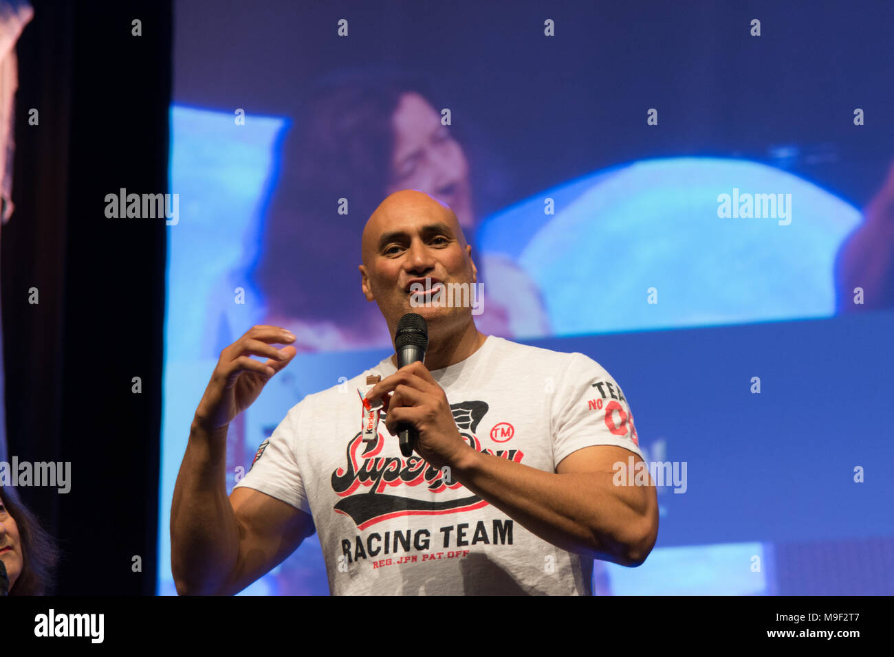 Bonn, Germany, 24 Mar 2018. Actor/Stuntman Shane Rangi (Narnia, Spartacus, Hobbit, Lord of the Rings), panel, at MagicCon, a three-day (March 23-25 2018) fantasy & mystery fan convention. Credit: Markus Wissmann/Alamy Live News - Stock Image