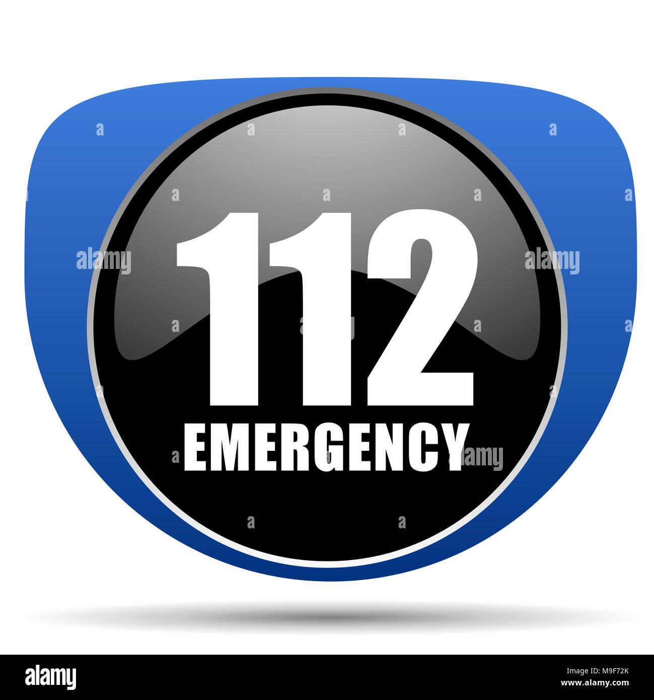 Number emergency 112 web icon - Stock Image
