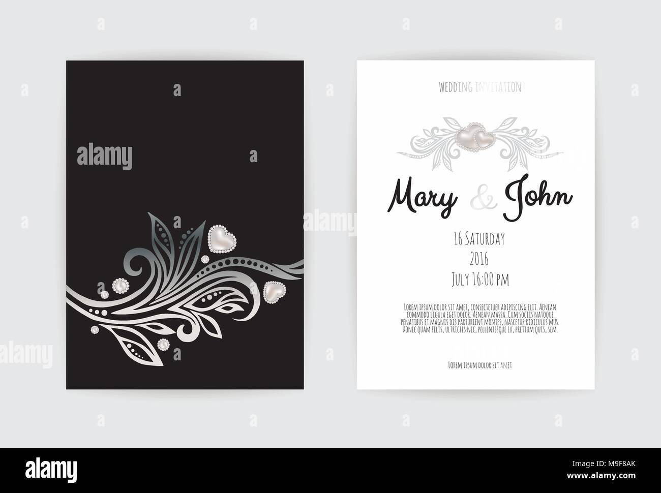Vintage wedding invitation templates cover design with silver vintage wedding invitation templates cover design with silver leaves ornaments vector traditional decorative backgrounds stopboris Image collections