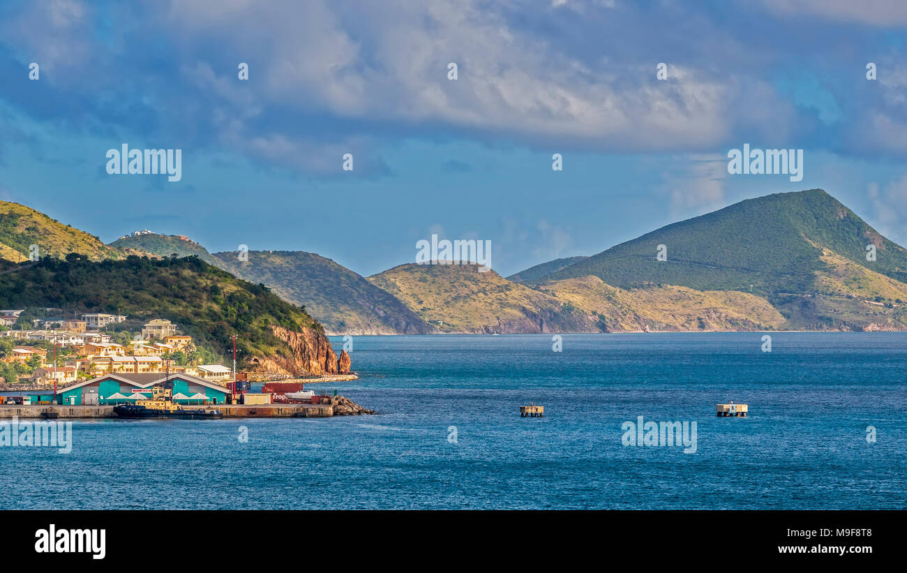 Hills Near The Harbour, Basseterre,  St. Kitts, West Indies - Stock Image