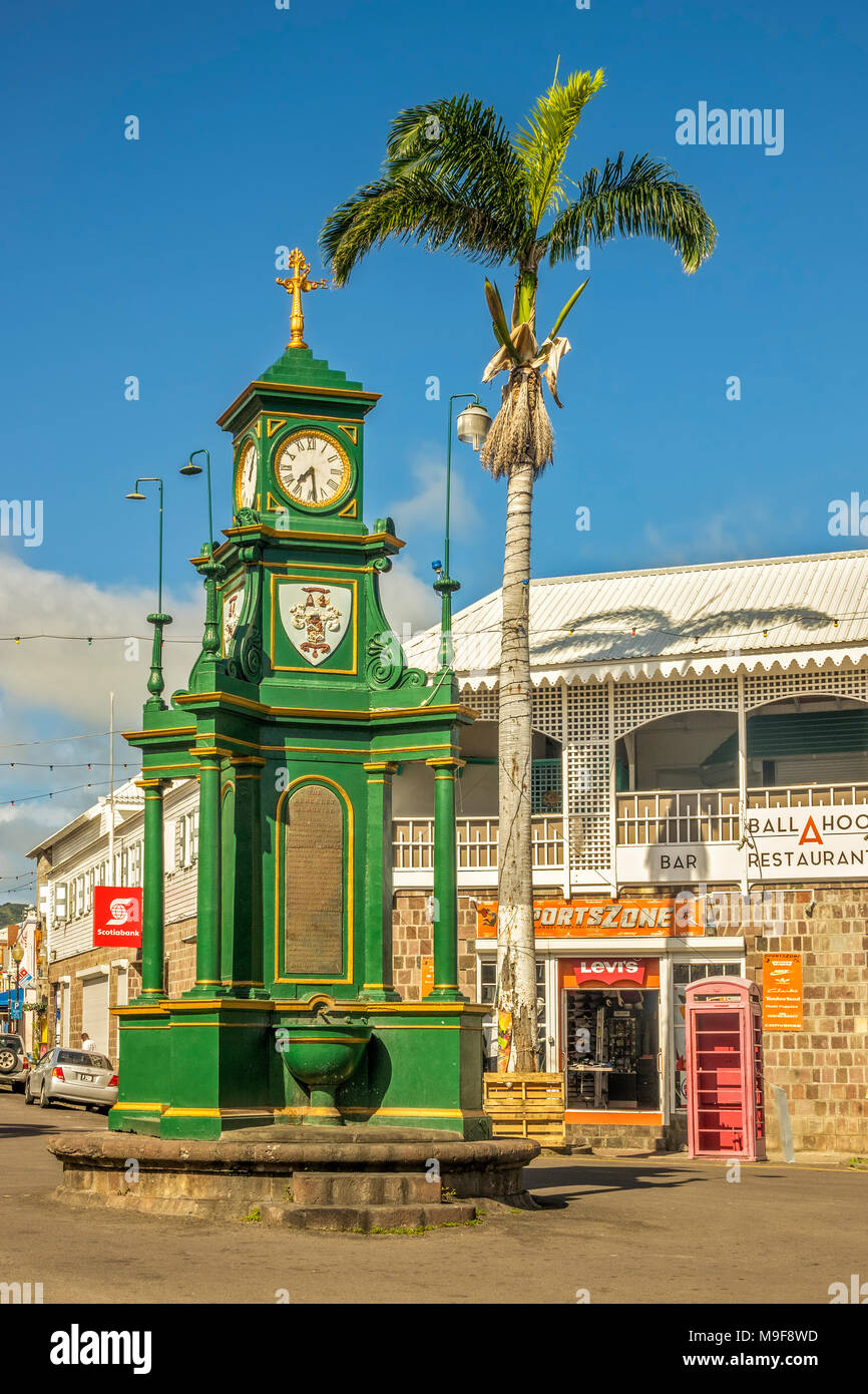 Clock Tower Basseterre St. Kitts West Indies - Stock Image
